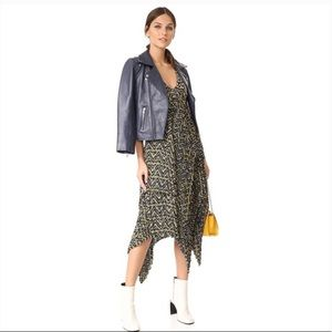 ALC Kendall Ikat Silk Asymmetrical Pleated Dress